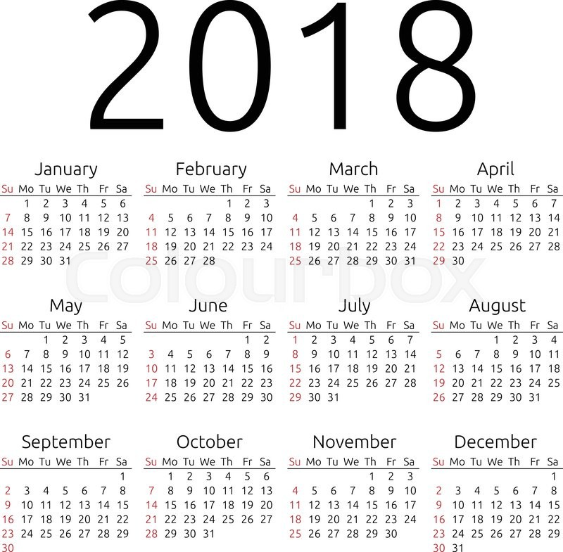 Simple 2018 year calendar, week starts on Sunday, EPS 8 vector ...