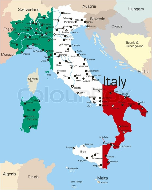 kort over italien Abstract vektor farve kort over Italien land farvet af nationale  kort over italien