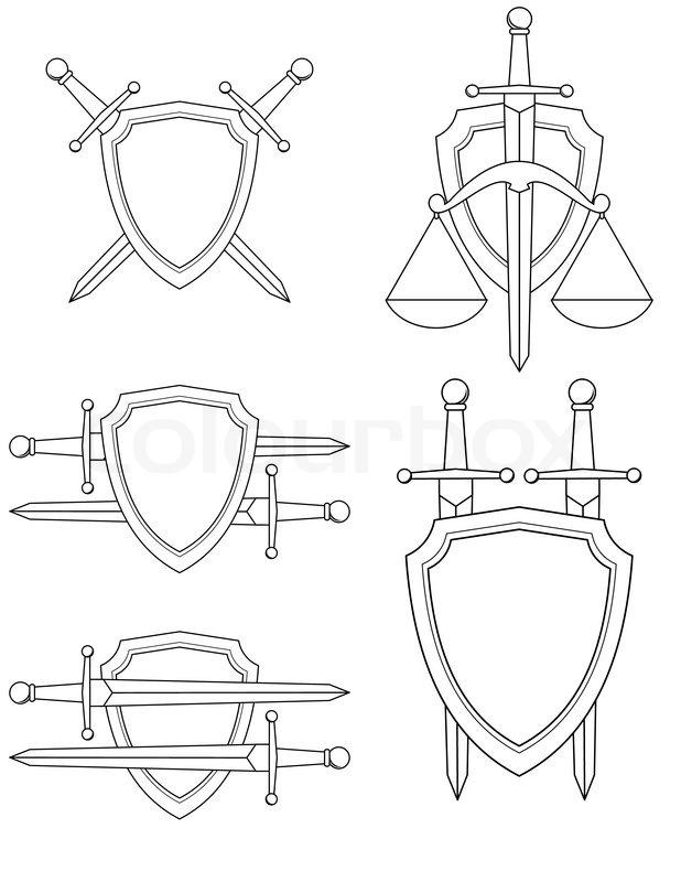 Раскраска щит с мечами 4