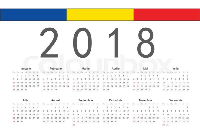 Simple rectangular Romanian 2018 year vector calendar. Week starts ...