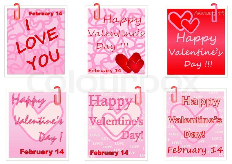 Happy Valentines Day notes | Stock Photo | Colourbox