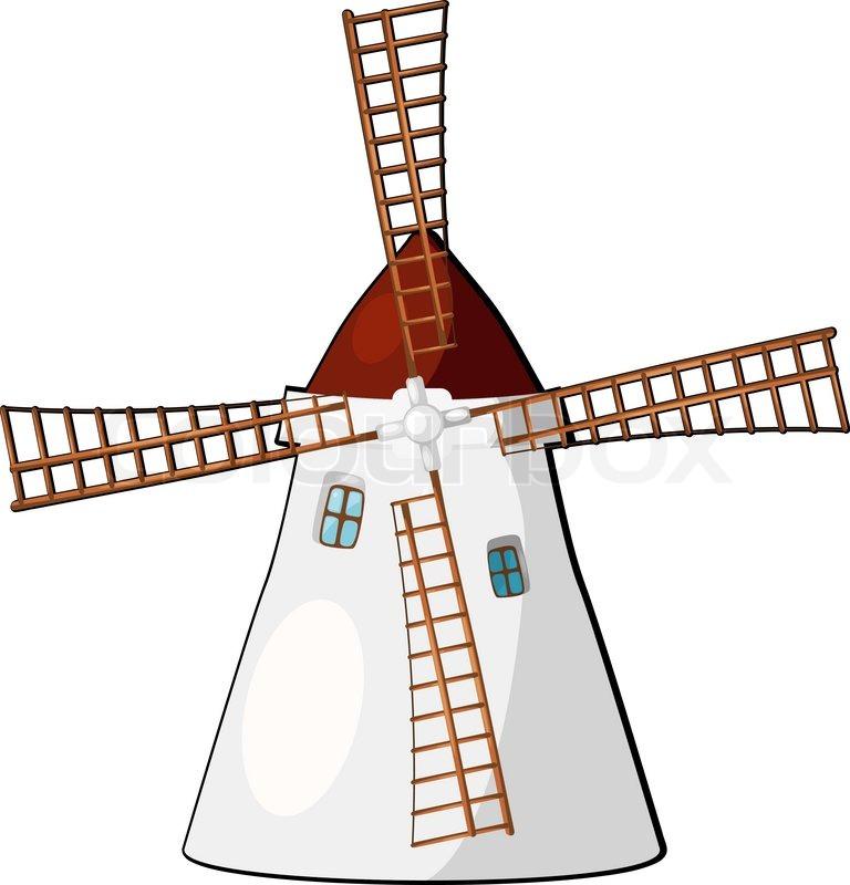 Нарисованная картинка мельница