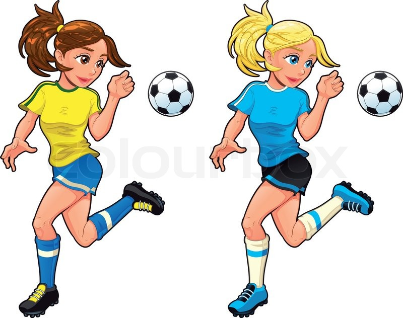Girls soccer team cartoon