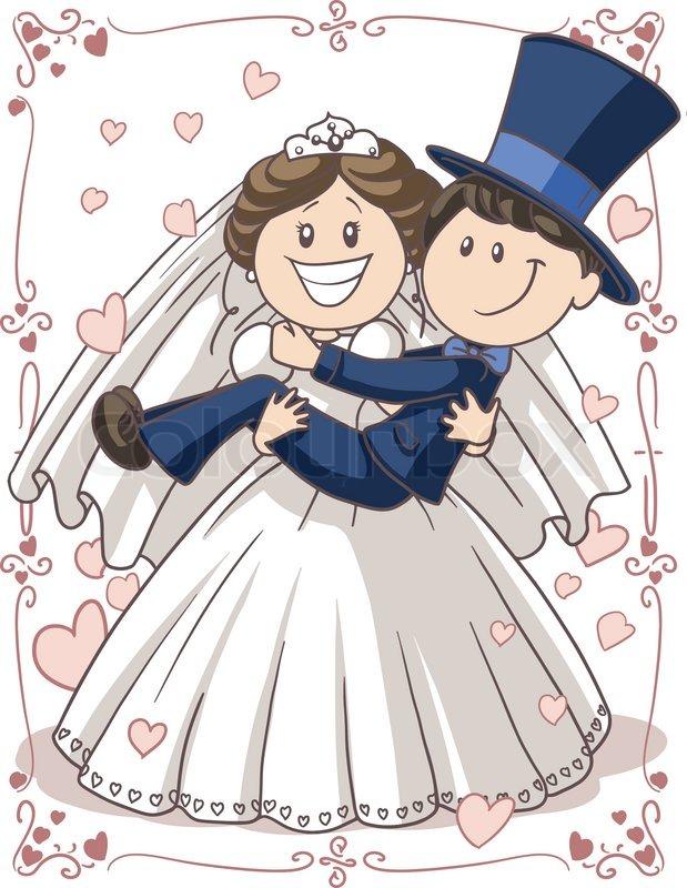 Cute cartoon wedding couple  depositphotoscom
