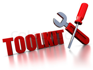 3d illustration of text 'toolkit' with wrench and