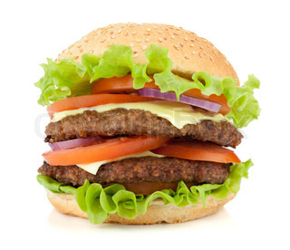 fresh burger with two beef pieces isolated on white