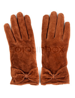 a pair of brown leather gloves on a white background
