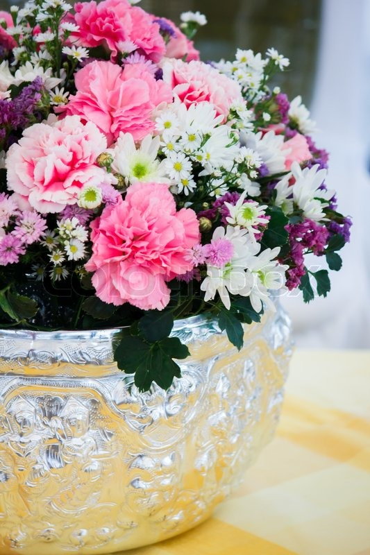 Colorful flower bouquet arrangement in round shape of carnation and ...