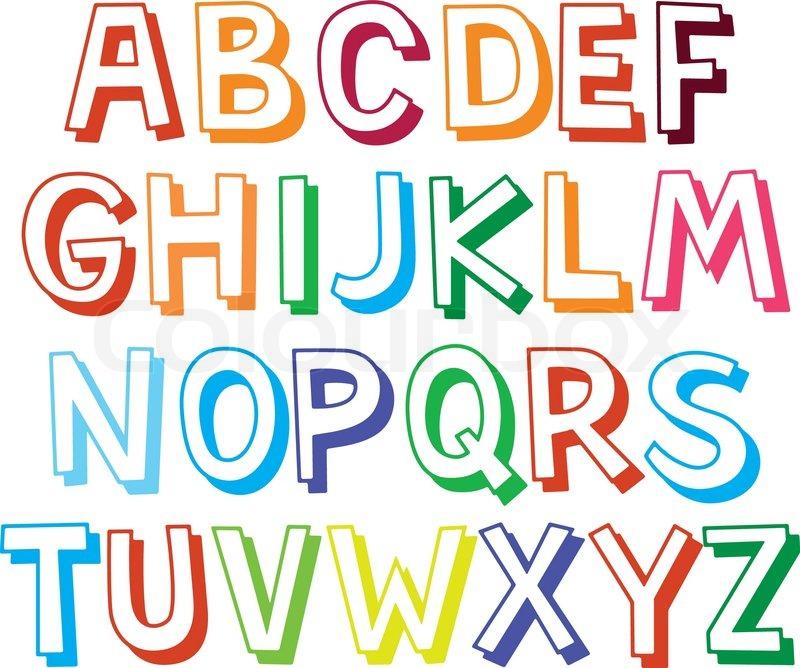 Lustige Farbe Schriften für Kinder. | Vektorgrafik | Colourbox