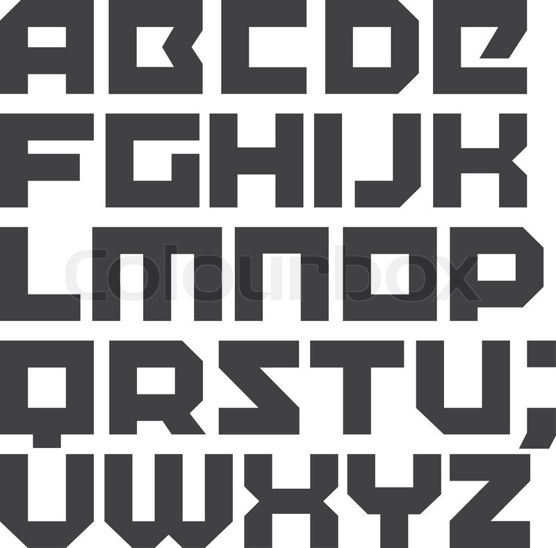 Vector Geometric Font Square Letters