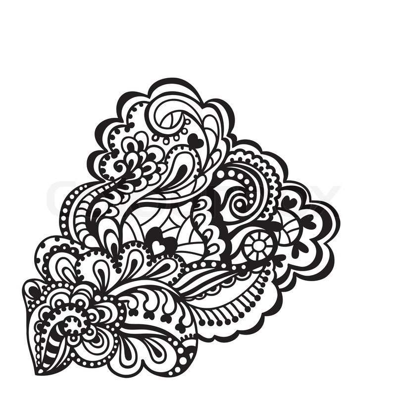 Black And White Floral Design Element. Vector Illustration, Vector