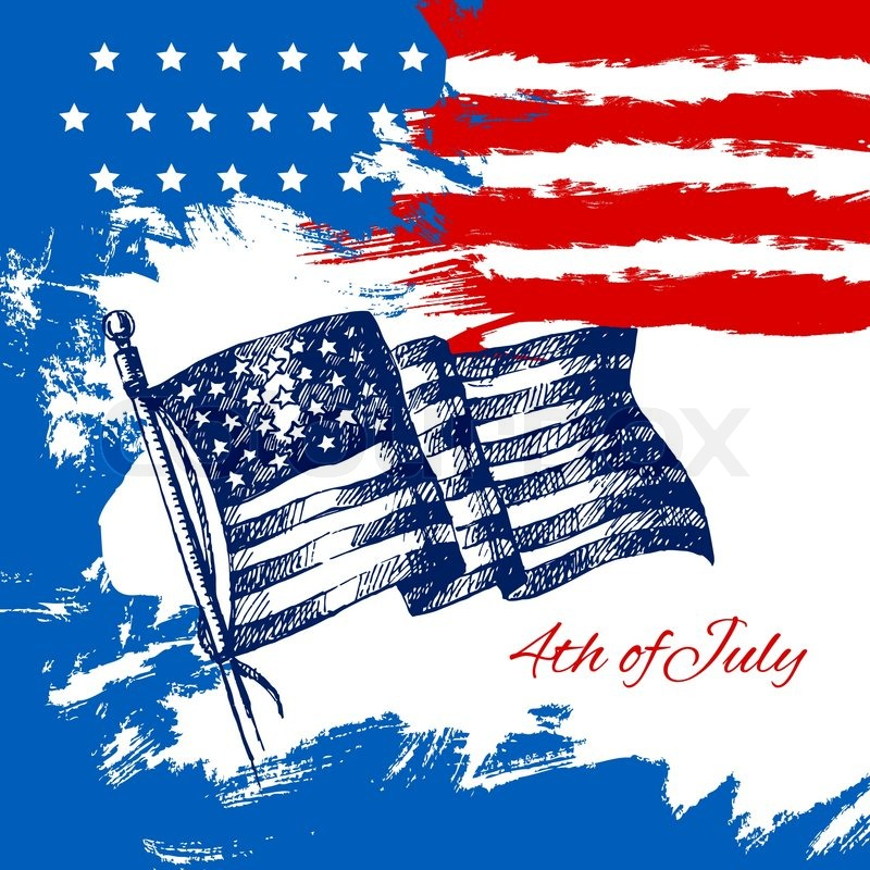 4th Of July Background With American Stock Vector Colourbox