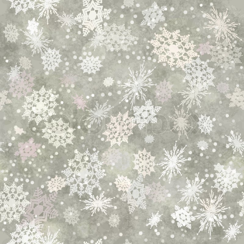Wrapping Christmas Vintage Paper Background With Snowflake Seamless Pattern Subtle Grunge Texture Bokeh Vector Holiday Winter Retro Wallpaper Backdrop