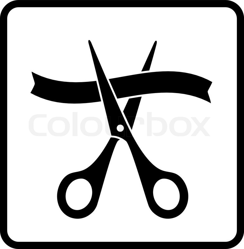 Sign With Scissors Cutting Ribbon In Frame On White