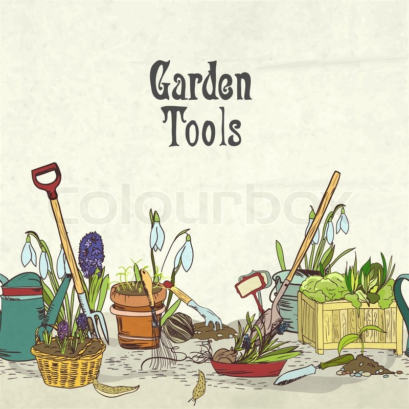 Hand drawn gardening tools album cover border or frame for for Agriculture garden tools
