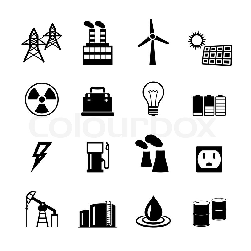 energy power pictograms collection of   stock vector