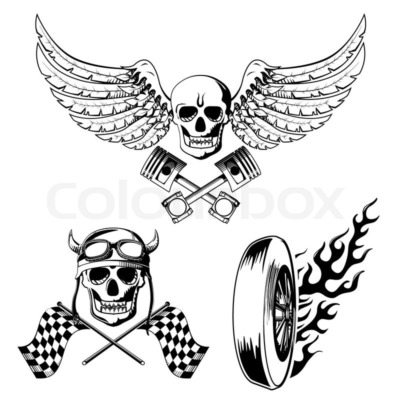 Motorcycle Bike Labels Set With Skull Stock Vector