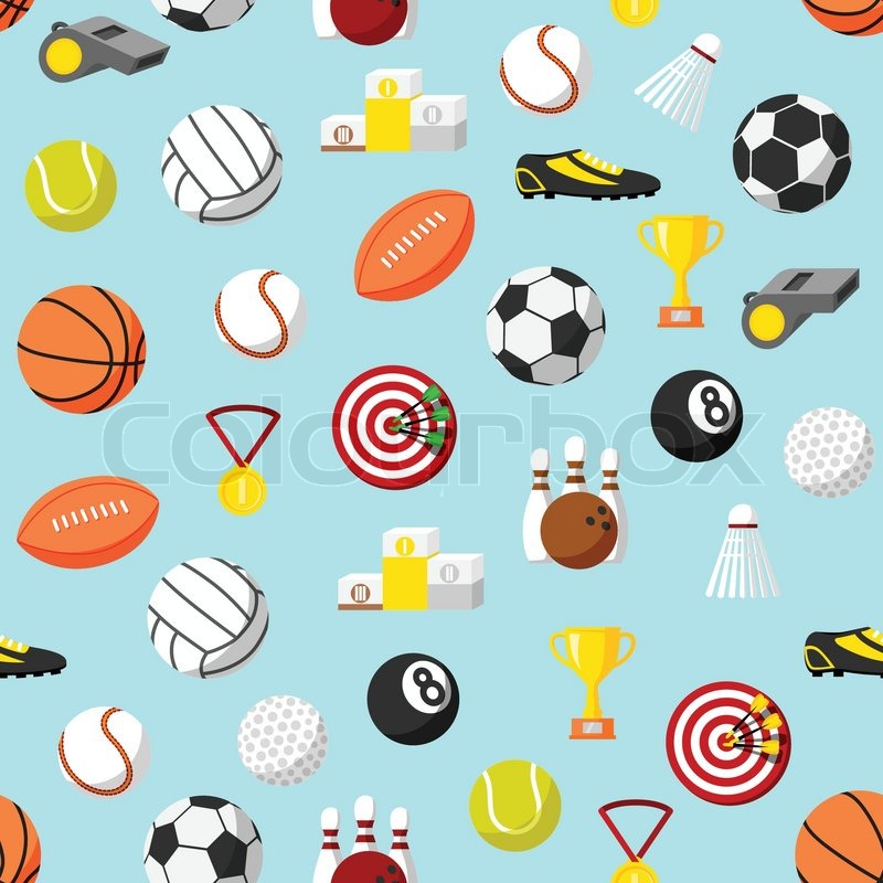 Seamless sports ball and equipment pattern background vector seamless sports ball and equipment pattern background vector illustration vector voltagebd Choice Image