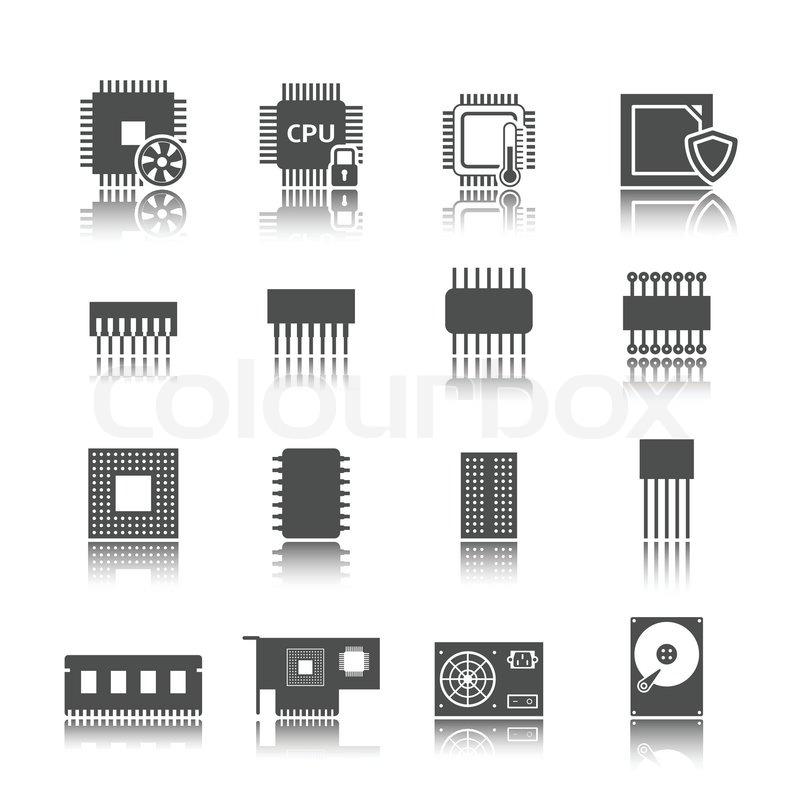Schaltung Symbole Computersatz | Vektorgrafik | Colourbox