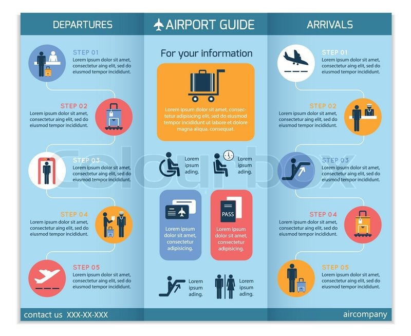 Airport business infographic brochure template with security check ...