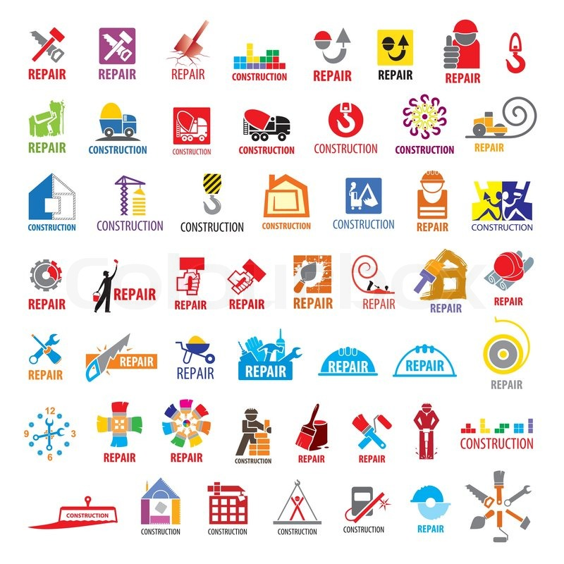 biggest collection of vector logos construction and repair stock vector colourbox