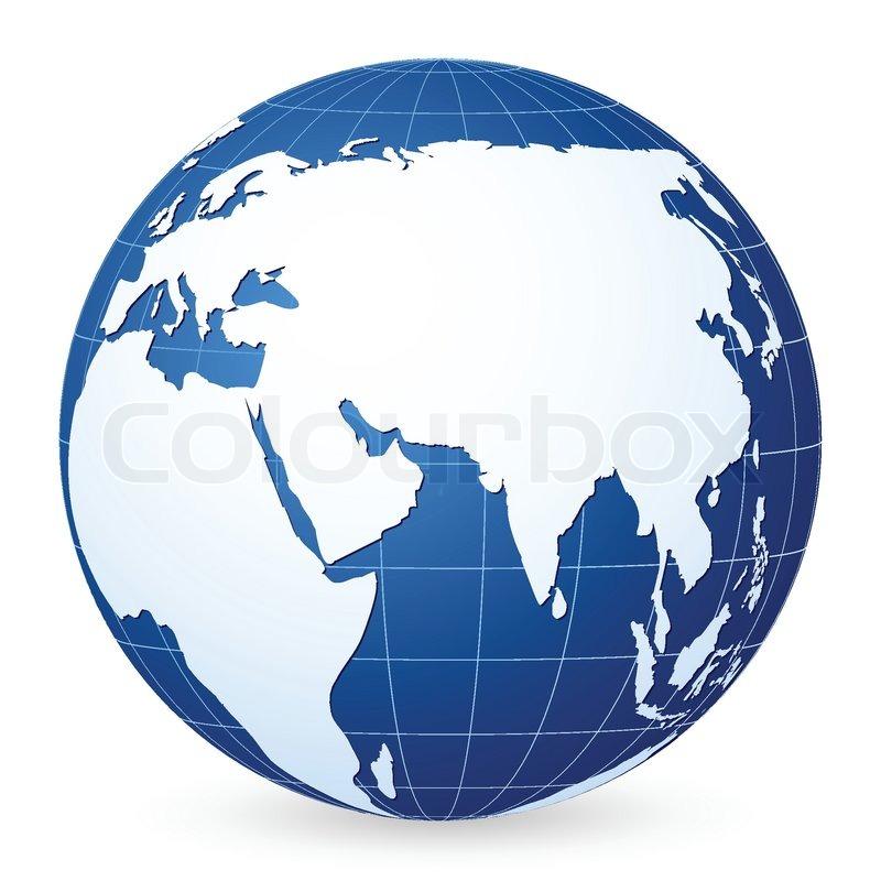 blue world globe on a white background vector illustration stock rh colourbox com world globe vector art world globe vector cdr free download