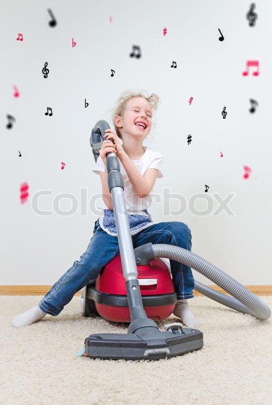 Mit teppich auslegen, singen, tanzen StockFoto