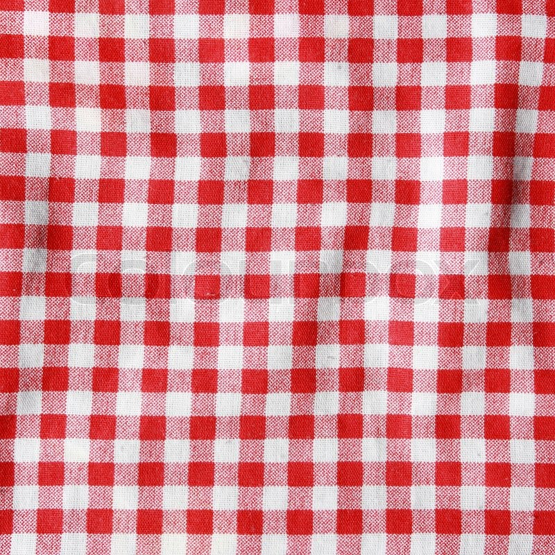 Crumple Texture Of A Red And White Checkered Picnic Blanket. Red Linen  Tablecloth. | Stock Photo | Colourbox