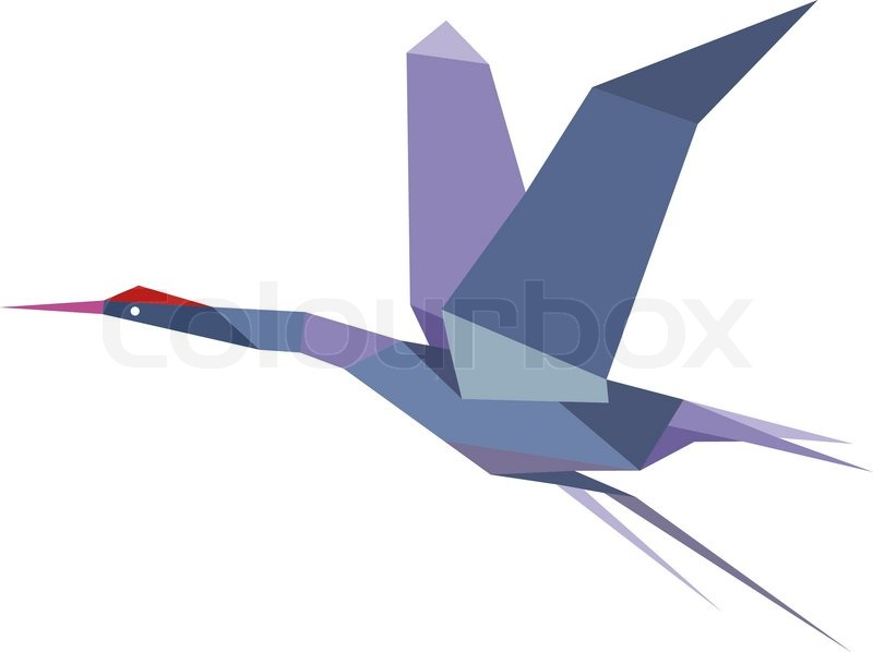 elegante origami kranich oder reiher fliegen stock vektor. Black Bedroom Furniture Sets. Home Design Ideas