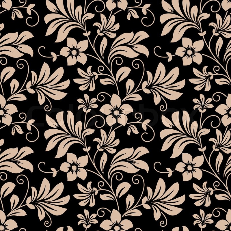 Vintage Floral Wallpaper Seamless Pattern With Trailing Tendrils Of Little Flowers On Vertical Vines Leaves In Beige Black Square Format