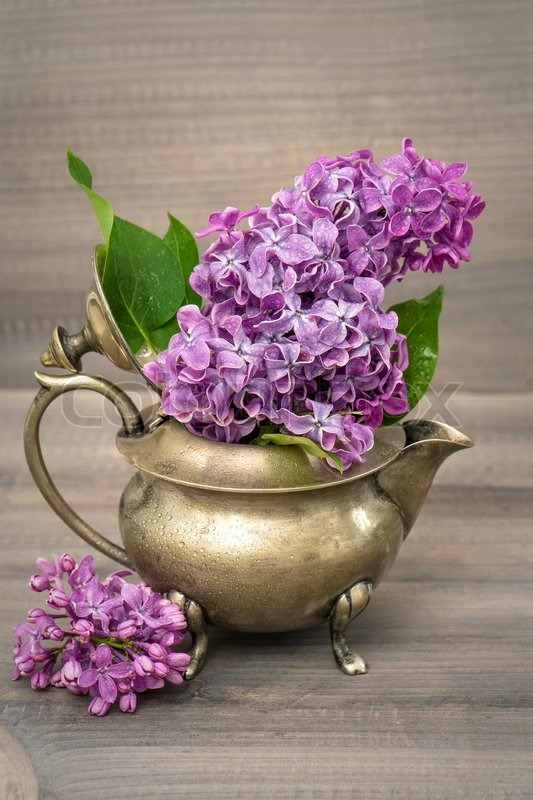 Lilac flowers in antique vase on wooden background