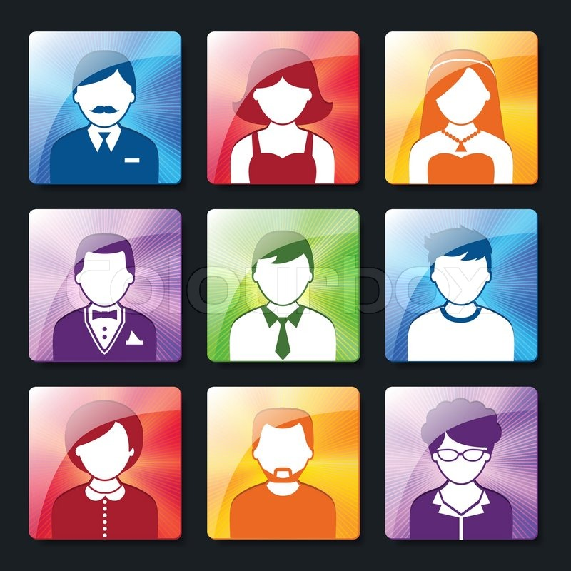 social networks avatar pictograms of male and female user profiles
