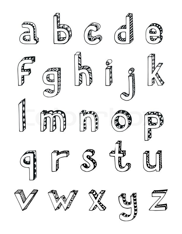 Sketch hand drawn 3d alphabet of small stock vector for Mobel 9 buchstaben