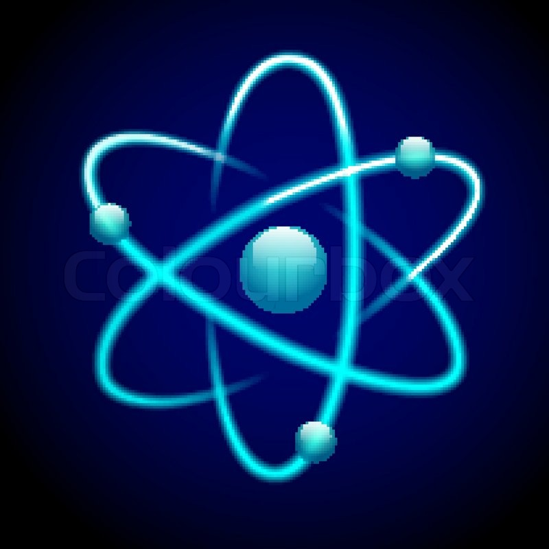 atom 3d blue abstract nuclear structure science model