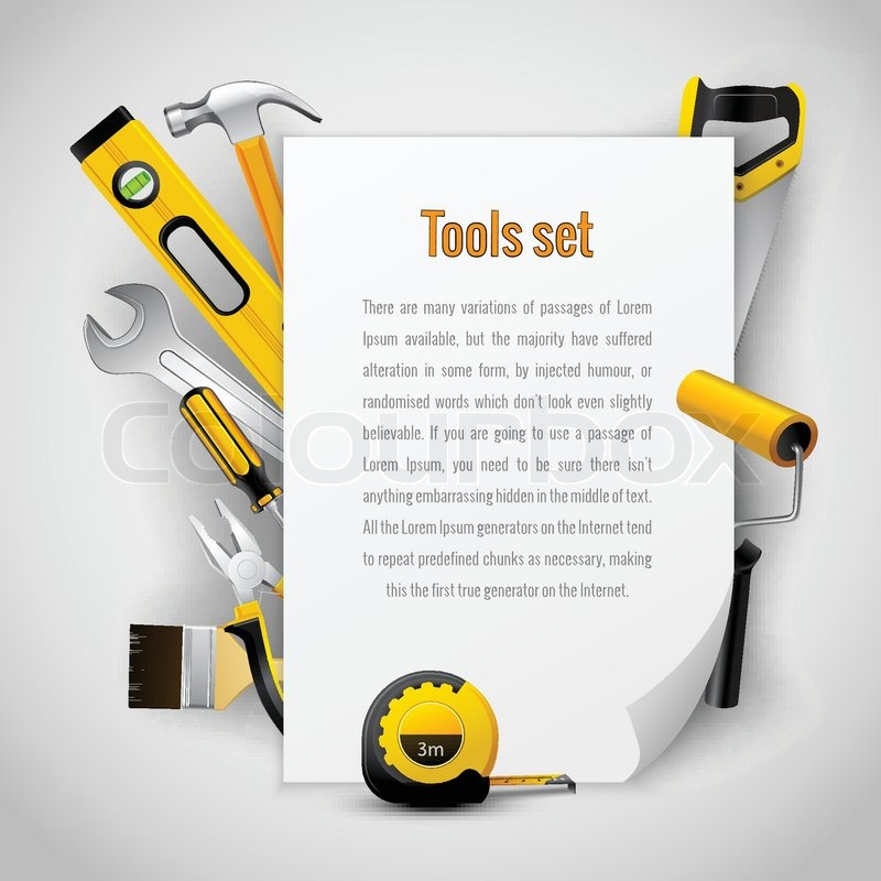 realistic carpenter tools background frame with hammer saw pliers wrench screwdriver and measuring tape vector illustration stock vector colourbox - Wrench Picture Frame