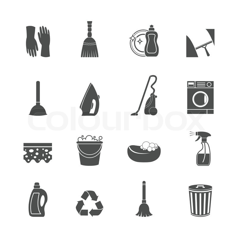Cleaning Washing Housework Icons Set Stock Vector