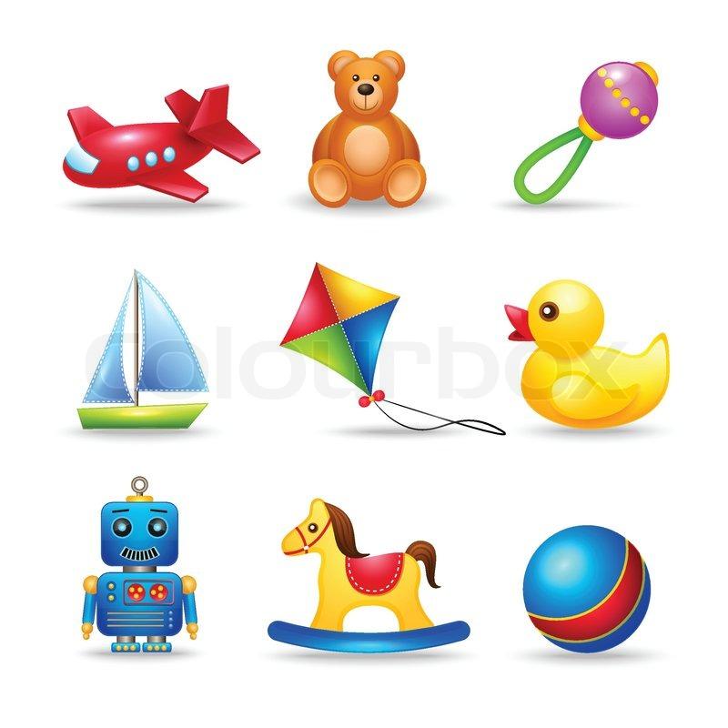 decorative children toys icons set of stock vector