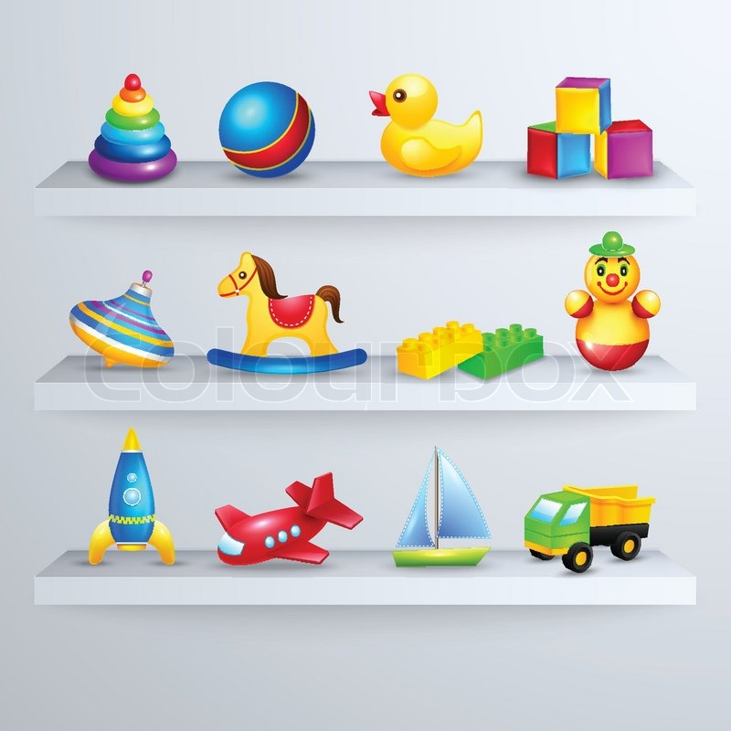 Spielzeug symbole regal stock vektor colourbox