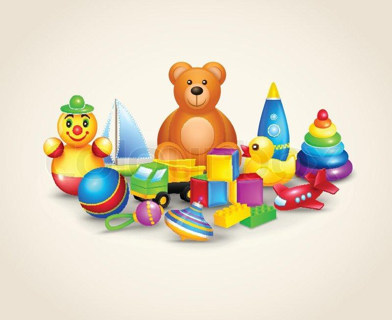 Kinder spielzeug zusammensetzung vektorgrafik colourbox
