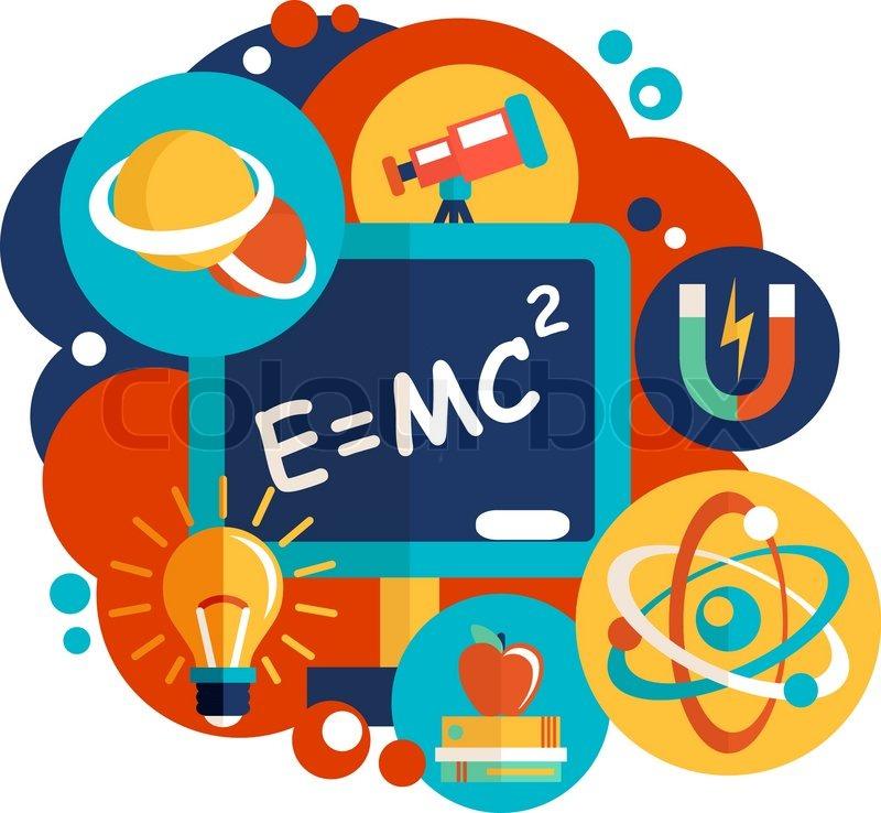 physics science laboratory equipment flat design emblem