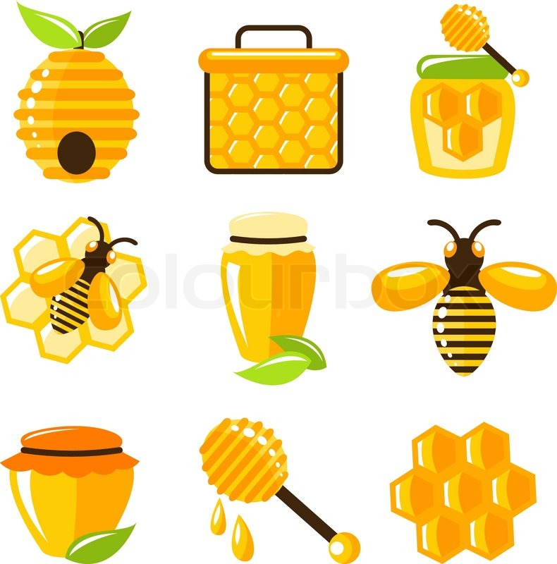 Decorative Honey Bee Hive And Cell Food Agriculture Icons Set Isolated Vector Illustration