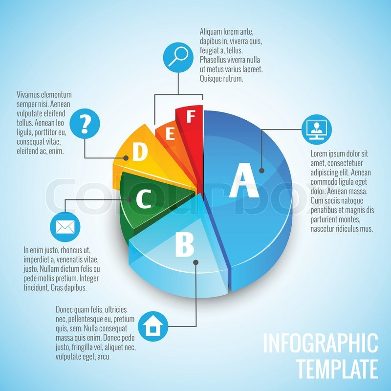 Colored Abstract 3d Pie Chart Web Design Infographic Element With