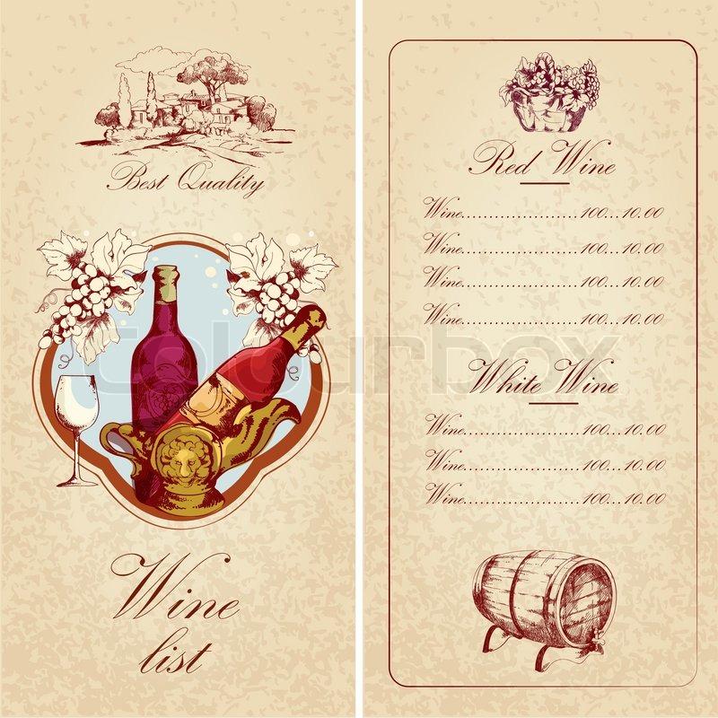 Weinkarte-Vorlage | Vektorgrafik | Colourbox
