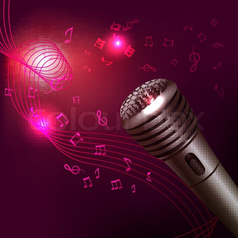 Music symbols background karaoke microphone musical ...