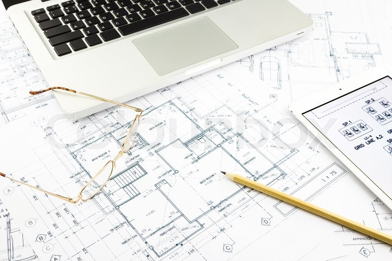 House blueprints and floor plan with notebook, architecture business concepts and ideas, stock photo