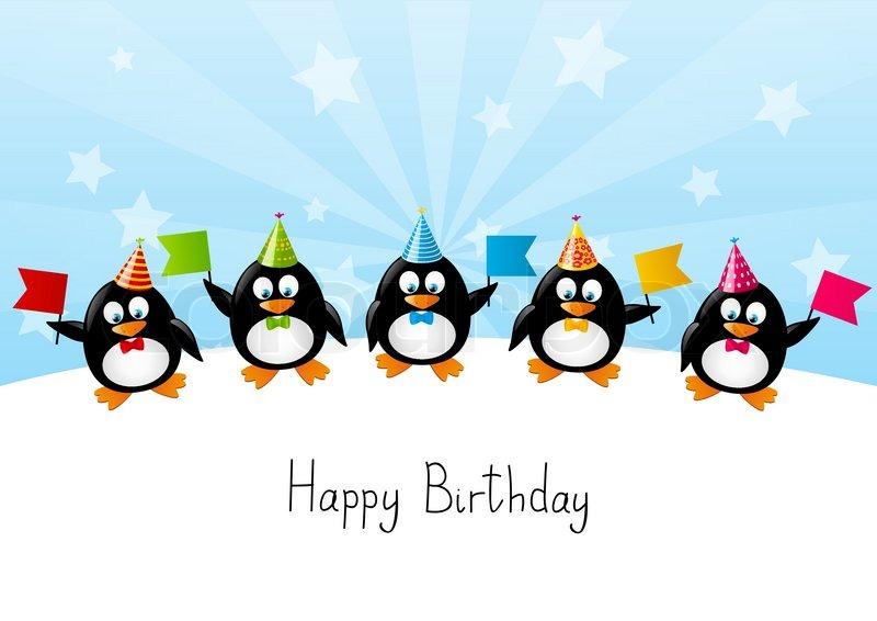 Lustige Pinguine Mit Farbe Flags Vektorgrafik Colourbox