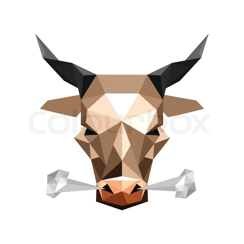 Illustration Of Abstract Origami Wild Steam Bull