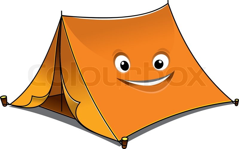 Cheerful cartoon orange tent with open front flaps and a
