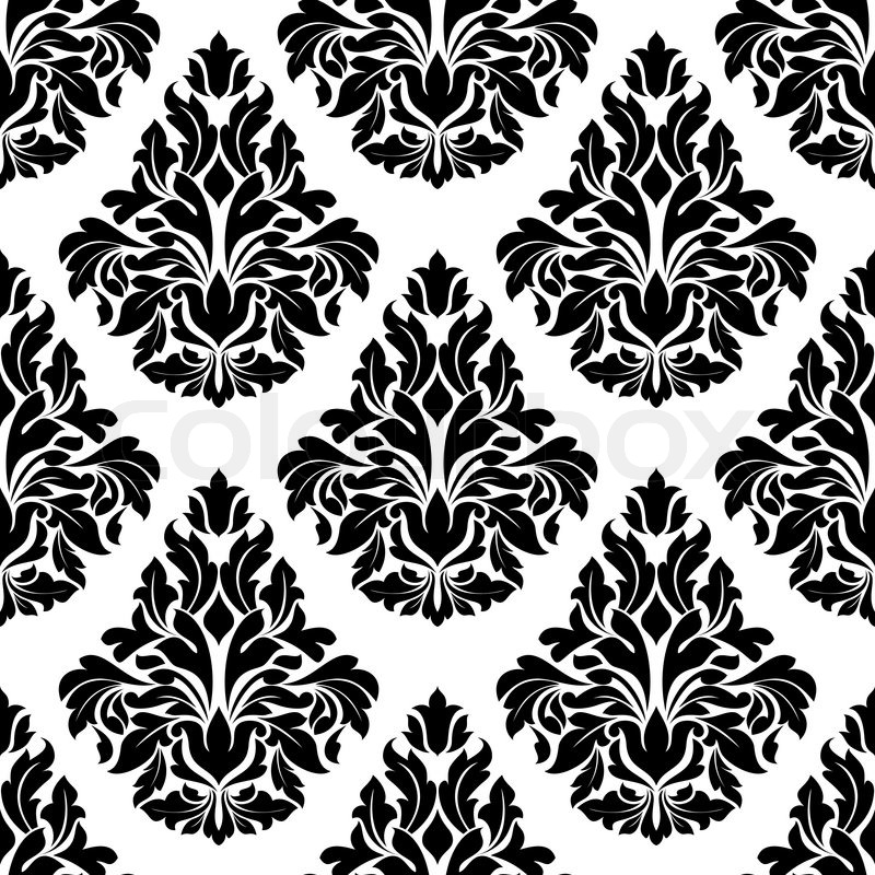 Intricate black and white arabesque design with a large repeat foliate motif in a busy seamless - White black design ...