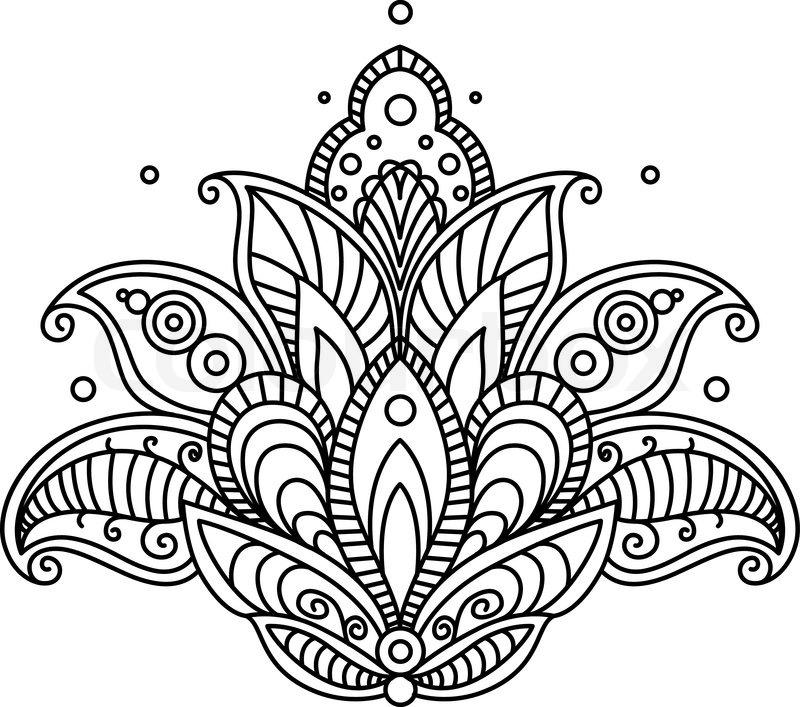 Pretty ornate paisley flower design element in a dainty black calligraphic line drawing Stock ...